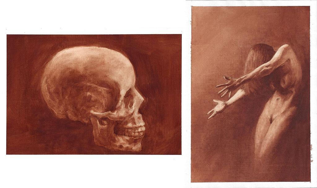 "Tim Eden. Burnt Umber pickout oil studies , 2016. Oil on canvas sheet, 8"" x 12"""